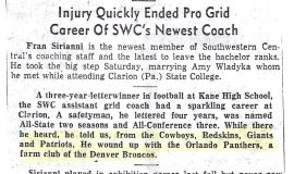 Injury Quickly Ended Pro Grid Career Of SWC's Newest Coach.