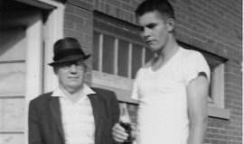 Frank Hyde with unidentified Jamestown Tigers player at College Stadium, 1965.