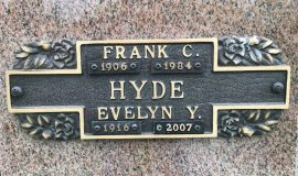 Frank and Evelyn Hyde burial marker, Sunset Hill Cemetery, Lakewood, NY.