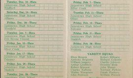 1940-41 Jamestown High School basketball schedule.