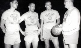 Gary Clark (third from left) playing basketball for Fort Lee, 1958-60.8-60