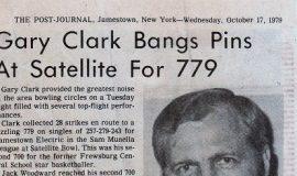 Gary Clark Bangs Pins At Satellite For 779. October 17, 1979.