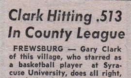 Clark Hitting .513 In County League. 1957.