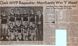 Clark MVP Repeater; Merchants Win Y Meet. 1962.