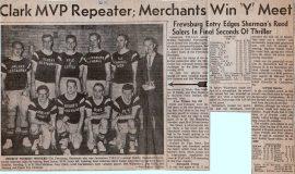 Clark MVP Repeater; Merchants Win Y Meet. 1962.
