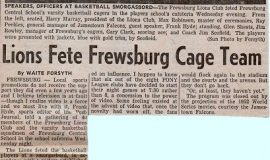 Lions Fete Frewsburg Cage Team. April 2 1953.