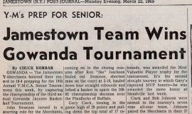 Jamestown Team Wins Gowanda Tournament. March 22, 1965..