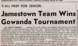 Jamestown Team Wins Gowanda Tournament. March 22, 1965..
