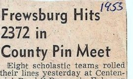 Frewsburg Hits 2372 in County Pin Meet. 1953.