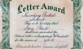 Frewsburg letterman, 1950-51.
