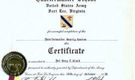 Quartermaster Course, 1958.