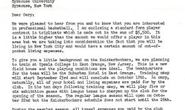 Correspondence from New York Knicks. Page 1. May 17, 1957.