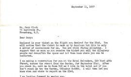 Correspondence from New York Knicks.  September 11, 1957.