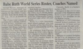 Babe Ruth World Series Roster, Coaches Named. 2005.