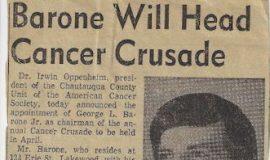 Barone Will Head Cancer Crusade. 1970.