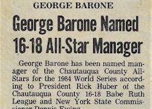 George Barone Named 16-18 All-Star Manager. 1984.