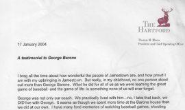 Tom Marra letter. January 17, 2004.