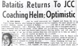 Bataitis Returns To JCC Coaching Helm; Optimistic. November 30, 1965.