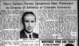 Harry Carlson, Former Jamestown Man, Prominent As Director of Athletics. Part 1. November 2, 1949.