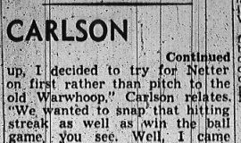 Harry Carlson, Former Jamestown Man, Prominent As Director of Athletics. Part 2. November 2, 1949