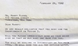Letter to Harry Rissel,  February 1962.