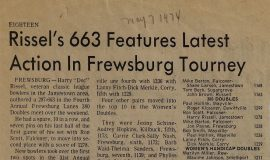 Rissel's 663 Features Latest Action In Frewsburg Tourney. 1974