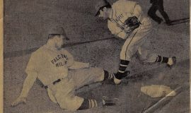 Harry Rissel is tagged out at Jamestown Municipal Stadium game circa 1949.