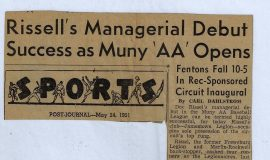 Rissel's Managerial Debut Success as Muny 'AA' Opens. 1951