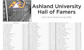 Ashland University Hall of Famers, page 1.  Updated thru 2018.