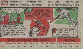 1956 trading card (back).