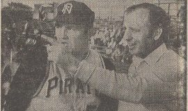Jamestown-born Irv Noren, Niagara Falls manager, gets a few tips from Senator Charles Goodell.