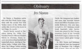 Obituary for Irv Noren. <em>Pasadena Outlook</em>, November 27 2019.
