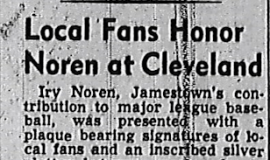 Local Fans Honor Noren at Cleveland. 1951.