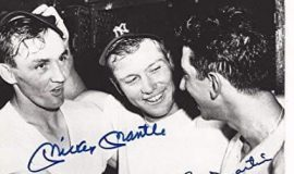Irv Noren- Mickey Mantle - Billy Martin in Yankees clubhouse circa 1955.
