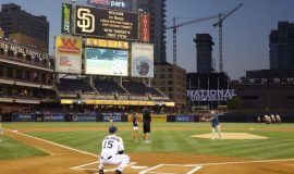 Irv Noren throwing out first pitch in San Diego September 2014.-San-Diego