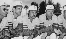 1973 Oakland A's coaching staff: left to right: Vern Hoscheit, Wes Stock, Dick Williams, Jerry Adair, Irv Noren