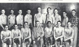 The 1953-4 Jamestown High School basketball team included Bob Winterburn (front row, third from left) and Jack Fulford (back row, third from right)