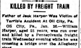 Killed By Freight Train. January 26, 1911.