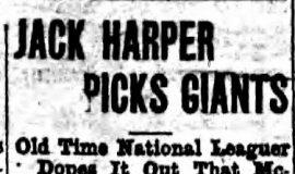 Jack Harper Picks Giants. October 3, 1923.