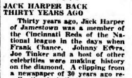 Jack Harper Back Thirty Years Ago. April 26, 1933.
