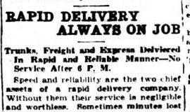 Rapid Delivery Always On Job. April 29, 1924.