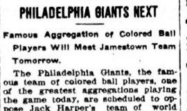 Philadelphia Giants Next. June 13, 1911.