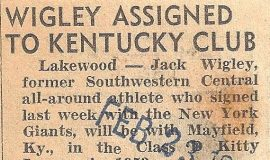 Wigley Assigned To Kentucky Club. February 23, 1953.