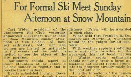 For Formal Ski Meet Sunday Afternoon at Snow Mountain.