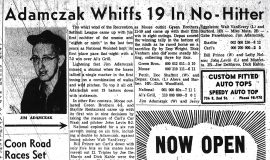 Adamczak Whiffs 19 In No-Hitter. June 28, 1961.