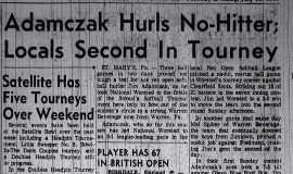 Adamczak Hurls No-Hitter; Locals Second In Tourney. July 11, 1961.