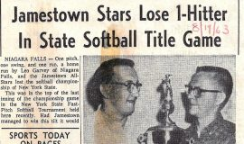 Jamestown Stars Lose 1-Hitter In State Softball Title Game. August 19, 1963.