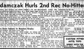 Adamczak Hurls 2nd Rec No-Hitter. August 2, 1961.
