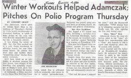 Winter Workouts Helped Adamczak; Pitches On Polio Program Thursday. August 2, 1960.