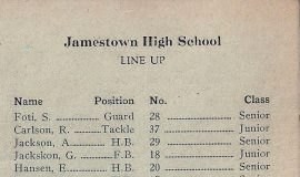 "Roster of 1930 Jamestown High School football team - Salvatore ""Jim"" Foti, captain."